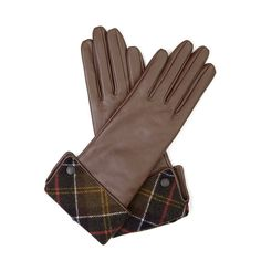 Barbour Chocolate Lady Jane Leather Gloves With Classic Tartan Cuff ($55) ❤ liked on Polyvore