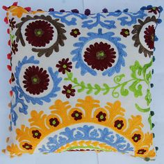 Designer Embroidery 16x16 Decorative Cotton Suzani Cushion Covers With Pom Pom #HandMand