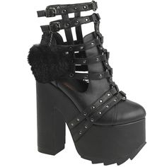 Hell's Boutique - CRAMPS-05 Platform Caged Ankle Boot Black Goth Nugoth Punk www.HellsBoutique.com