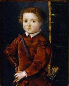 Portrait of Giovanni di Cosimo de' Medici , (1510 -1563), as a child with a bow and arrow, c1546  by Francesco de Rossi.  Born in Florence, he was a son of Cosimo de' Medici the Elder and Contessina de' Bardi, and brother to Piero.