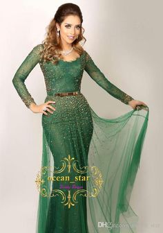 Saudi Arabic Mermaid Green Evening Dresses Scoop Neck Lace With Sequins Long  Sleeves Zipper Back Sweep Train Custom 2017 Tulle Party Gowns Maxi Evening  ... 2a4757a11304