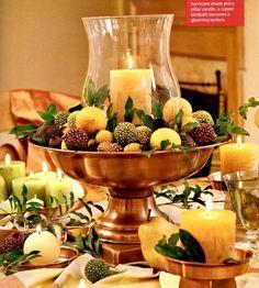 Any season - Candle, fruit, floral arrangement.