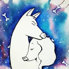 💕 Perfect couple💕для #alexandradikaia_ldc  Когда понимаешь друг друга без слов! #love #perfectcouple #loveday  #space #color ##valentineday #youandi #illustration #watercolor #winsorandnewton #art_inquirer #ugoloktvorchestva #sketchbook #sketch #dog #animal #bookillustration #instaart #instagram #artwork  #art_we_inspire #topcreator #amor #parejaperfecta #pareja #couple