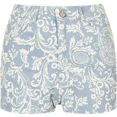 **Mizzy Short by Motel featuring polyvore, women's fashion, clothing, shorts, bottoms, short, pants, blue, blue shorts, blue short shorts, cotton shorts, paisley print shorts and blue cotton shorts