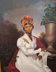 """Portrait painting """"La Martiniquaise"""" by Anonymous painter 1855 Black History, Art History, St Just, Primitive Painting, Regency Era, Regency Dress, 19th Century Fashion, Old Paintings, Historical Clothing"""