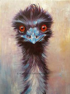 Original Acrylic Painting Animal Art  Emu Portrait Wall decor