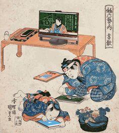 "In ""Digital Terakoya,"" people learn math problems from a popular webinar. The original image is this one from Kunisada Utagawa."