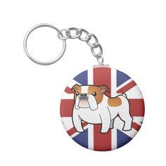 Patriotic Bulldog (red piebald) Keychains