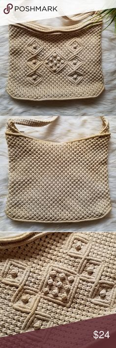 """vintage 1970's beige crochet small purse Vintage crocheted purse. Fully lined. Zipper top. Easy to date thanks to the label marked """"People's Republic of China"""". This wording was used in the 1970's.  Height: 9"""" Width: 11"""" Drop:15""""   ***some yellowing due to age, but I think this adds to the vintage appeal of the bag.***  -Smoke-free home  -Reasonable offers welcome, but prices are firm on items under $10.  -No trades, please.  -All measurements are approximate.  Thank you for shopping my…"""