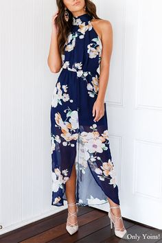 Navy Random Floral Print Sleeveless Splited Maxi Dress  from mobile - US$21.95 -YOINS