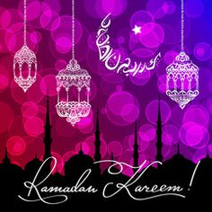 Vecteur : Ramadan Kareem greeting card with a arabic lettering moon. Hand drawn calligraphy lettering on bokeh background. Translation generous Ramadhan.