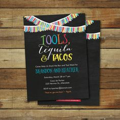 Tools Tequila and tacos wedding shower by saralukecreative on Etsy