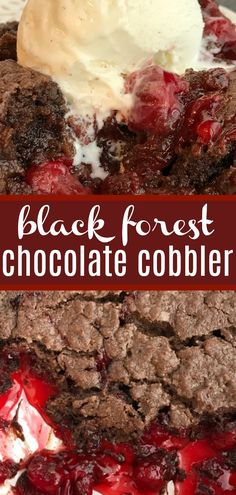 Black Forest Chocolate Cobbler Chocolate Cobbler Black Forest Dessert Desser Recipes Chocolate cobbler gets a fun black forest twist with canned cherry pie filling You only need 4 ingredients - Cherry Desserts, Köstliche Desserts, Delicious Desserts, Dessert Healthy, Cherry Pie Filling Desserts, Black Cherry Recipes, Simple Dessert Recipes, Dessert Simple, Desserts With Cherries