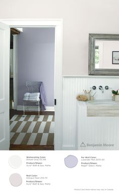 A Bathroom With Subtle Hints Of Color Wainscoting Distant Gray Oc 68
