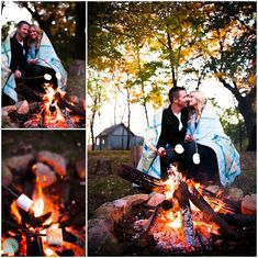 Meagan and Nate Wedding Photographers, camping themed engagement photos, campfire