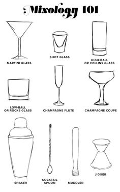 Mixology A Glossary of Terms drinks alcohol drawings Mixology 101 . Cocktail Drinks, Cocktail Shaker, Alcoholic Drinks, Beverages, Cocktail Glassware, Liquor Drinks, Bourbon Drinks, Bartending Tips, Alcohol Drink Recipes