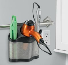 Polder Style Station, curling iron, flat iron and hair dryer caddy {featured on Home Storage Solutions 101, plus 9+ other hair appliance holder ideas}