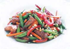 Pork Stir-Fry with Green Beans and Peanuts Recipe
