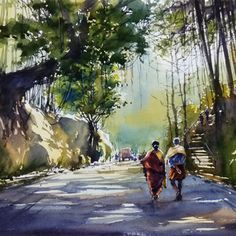 couples Artwork Watercolor Scenery, Watercolor Paintings For Beginners, Watercolor Landscape Paintings, Watercolor Art, Kerala Mural Painting, Indian Art Paintings, Rajasthani Painting, Composition Drawing, Oil Pastel Art