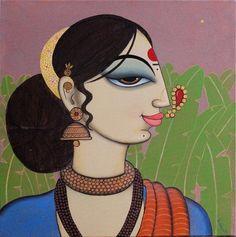 Buy Face Painting by Varsha Kharatmal Online Surrealism Painting, Mural Painting, Mural Art, Figure Painting, Modern Indian Art, Indian Folk Art, Pichwai Paintings, Indian Art Paintings, Madhubani Art