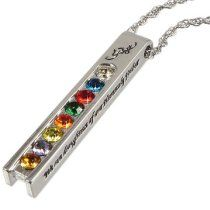 "LDS Womens Steel YW Young Women Values Journey Necklace for Girls on a 18""-20"" Adjustable Rope Chain - LDS Necklace, Womens LDS Necklace, Girls LDS Necklace, Young Women - Faith (White), Divine Nature (Blue), Individual Worth (Red), Knowledge (Green), Choice & Accountability (Orange), Good Works (Yellow), Integrity (Purple) & Virtue (Gold) - ""We Are Daughters of Our Heavenly Father"""