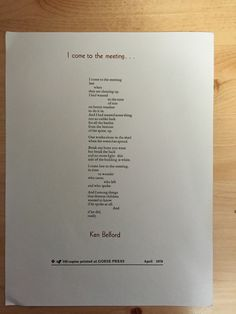 "Title: ""I come to the meeting"" Author: Ken Belford Publisher: Prince George: Gorse Press, 1979 Poetry Books, My Tumblr, Cover Photos, Prince, Author, Blog, Writers, Blogging"