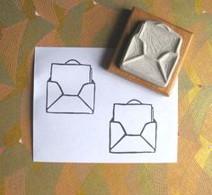 Tiny Message Envelope - Hand-Carved Stamp (12.00 USD) by extase