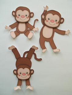 3D Paper Piecing 3 Pieces - 502 Monkey Standing Sitting Playing Embellishment
