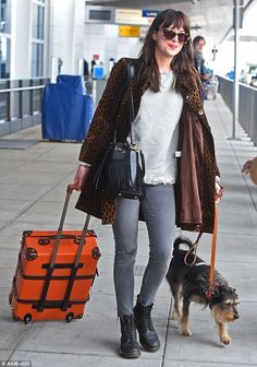 Flying visit: Dakota is already preparing for the sequel to Fifty Shades which will be rus...