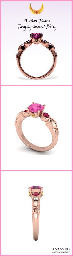 Custom Sailor Moon engagement ring inspired by Chibi Moon. Handcrafted out of 14k rose gold with a pink tourmaline center stone and accent rubies