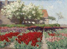 Tulpenvelden en vruchtbomen - Antonie Lodewijk Koster   vrouw bij waslijn