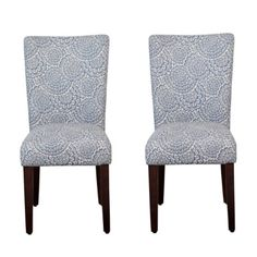 Navy and Cream Floral Parsons Chairs, Set of 2   Kirklands