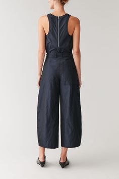 Productpage - COS Cos Trousers, Satin Trousers, Wide Leg Trousers, Timeless Fashion, Women Wear, Jumpsuit, Legs, Navy, Model