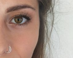 Sterling Silver Moon Nose Ring, 20 Gauge, Half Moon, Nose Ring Hoop, Hoop Nose Ring Tragus Piercing, Daith Jewelry, Septum, Nose Ring Stud