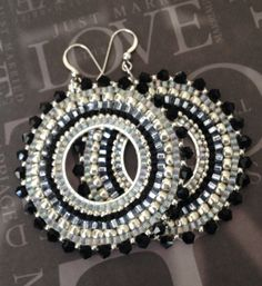 Beaded Earrings Black Crystal GODDESS Seed Bead by WorkofHeart