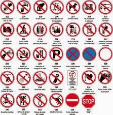 jeu des 5 familles de panneaux de signalisation routi re famille interdiction pictogramme. Black Bedroom Furniture Sets. Home Design Ideas
