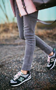 Pale Pink Coat || Grey Denim || New Balance Sneakers