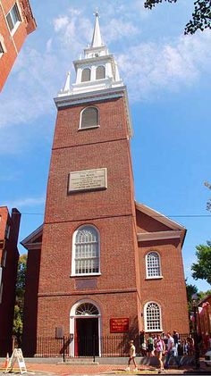 "Old North Church, Boston, Massachusetts Made famous by ""The Midnight Ride of Paul Revere."" Pretty cool inside."