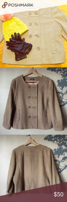 "J. Crew Cropped Coat Soft and thick cropped coat from J.Crew!  This fawn colored jacket features three quarter length sleeves and is fully lined.  It is 75% wool, 20% polyamide, and 5% cashmere with a 100% acetate lining.  It is dry clean only.  This coat is approximately 22.5"" long and is a re-posh (it is now too large for me) but was barely worn by the previous posher.  It is in practically perfect condition except for a loose thread on one button. J. Crew Jackets & Coats"