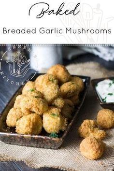Breaded Mushrooms, Garlic Mushrooms, Stuffed Mushrooms, Mushroom Recipes, Veggie Recipes, Cooking Recipes, Healthy Recipes, Mushroom Ideas, Yummy Recipes