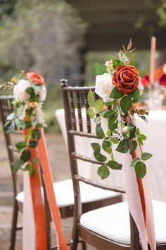 Burnt Orange Weddings, Orange Wedding Flowers, Floral Wedding, Orange Wedding Decor, Sunset Wedding Theme, Orange And Pink Wedding, Rustic Wedding Flowers, Wedding Pews, Wedding Isles