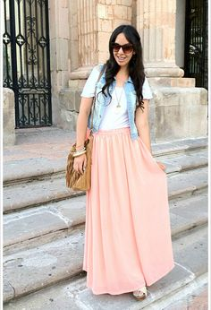 Soft #coral Skirt paired with white t and denim jacket. Pretty, casual and comfy