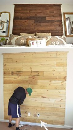 Floor to Ceiling Pallet Headboard | Click for 18 DIY Headboard Ideas | DIY Bedroom Decor Ideas on a Budget