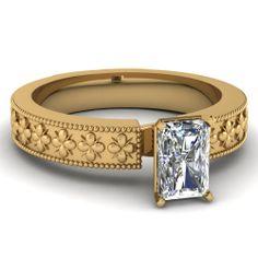 Radiant Cut Diamond Engagement Rings In 18K Yellow Gold   Floweret Ring   Fascinating Diamonds