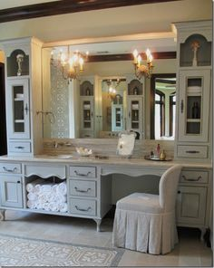 i love this vanity!! ...and it has a little chicken wire