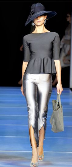 Armani S/S 2012. The hat, the cigarette pant, the peplum style top. Pure love.