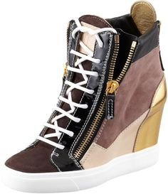 Love this: Colorblock Wedge Sneaker Blackbrowngold @Lyst