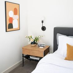Shop an Assortment of Classic Looking Accent Tables, including: High Quality Bedside Tables and Living Room Side Tables. Mid Century Modern Bedroom, Modern Master Bedroom, Mid Century House, Minimalist Bedroom, Bedroom Styles, Midcentury Modern, Midcentury Bedroom Decor, New Room, Flip Clock
