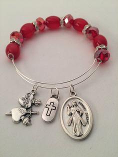 Divine Mercy, Sacred Heart, Immaculate Heart Bangle Charm Bracelet by HolyChickJewelry on Etsy