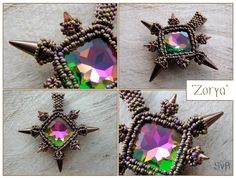 Beadwork pendant made of a large rivoli with spikes. Zorya means Rising Star.